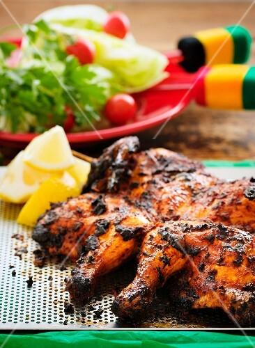 Spicy Cajun chicken with side salad