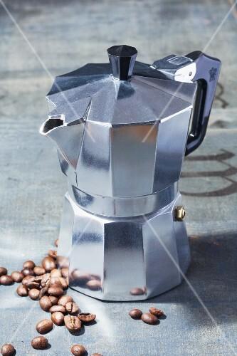 Vintage Espresso Maker on a White Background