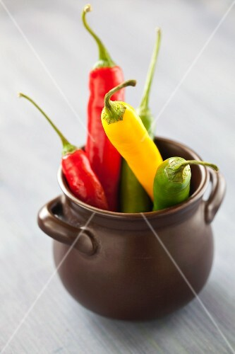 Red, yellow and green chilli peppers