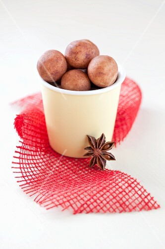 Marzipan potatoes in a cup for Christmas