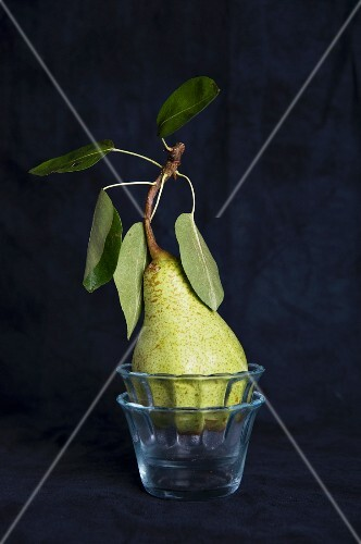 Pears in a glass bowl