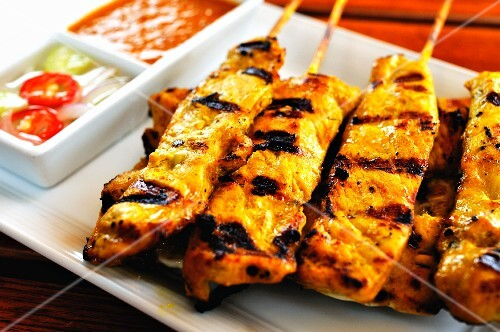 Grilled chicken sate kebabs with dips