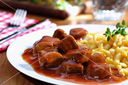Veal goulash with Spätzle (soft egg noodles from Swabia)