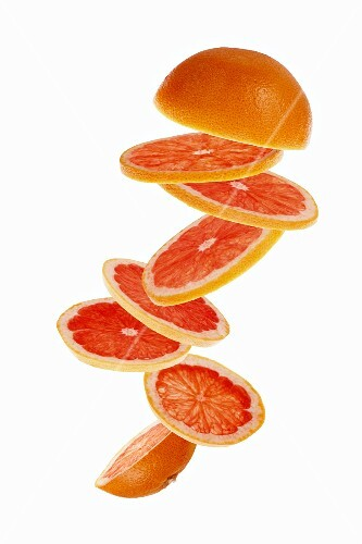 Sliced pink grapefruit