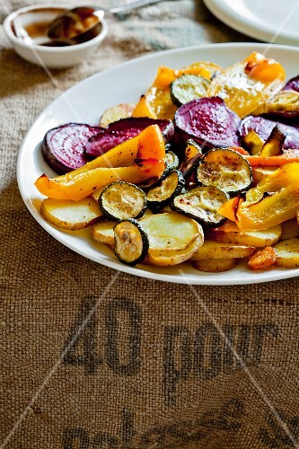 Warm salad made of roasted vegetables