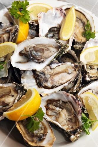 Fresh Irish oysters with lemon wedges