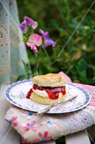 A scone with jam