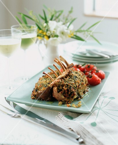 Roast lamb chops with a rosemary and garlic crust