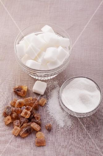 Sugar cubes, granulated sugar and brown candied sugar