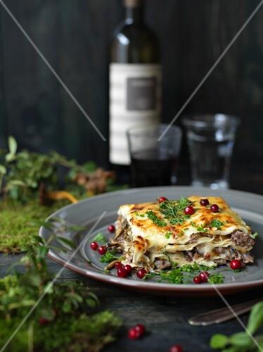 Lasagne with chanterelles and venision