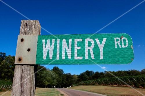 Weinschild in Barboursville, Virginia, USA