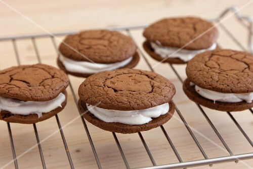 Whoopie pies on a wire kitchen rack