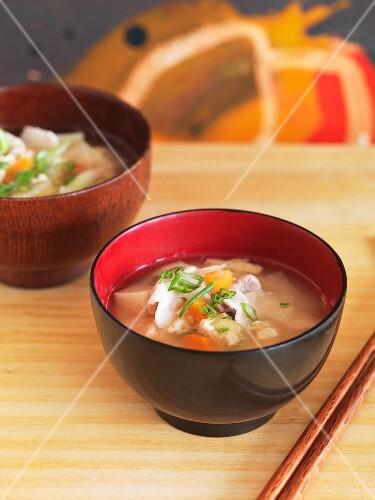 Tonjiru (miso soup with pork and vegetables, Japan)