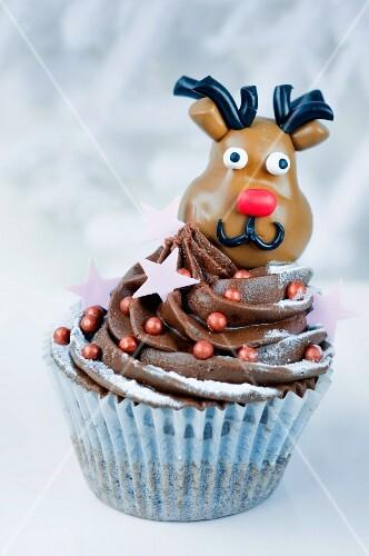 Chocolate cupcake with reindeer for Christmas