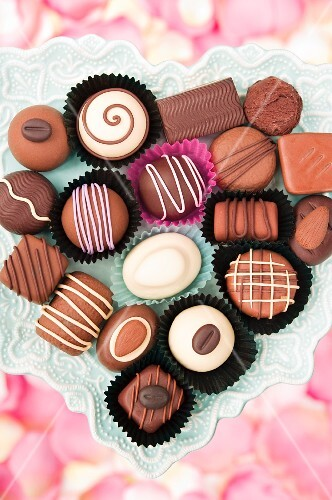 Assorted chocolates in a heart-shaped dish