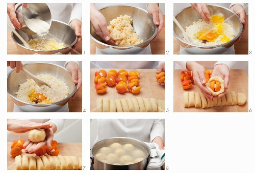 Making apricot dumplings