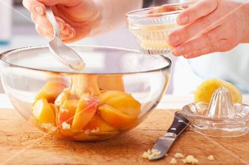 Infuse peach slices in a sweet marinade