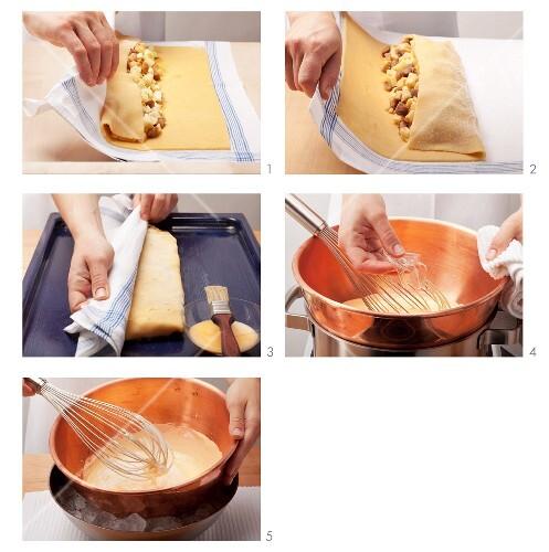 Preparing Tyrolean apple strudel with vanilla zabaglione