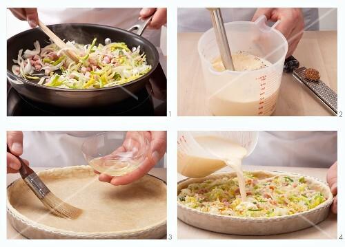 Preparing leek and ham quiche