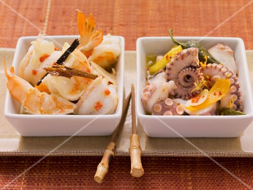 Marinated prawns with chilli peppers & octopus with lemon and orange zest