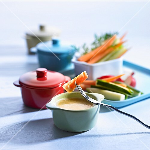 Cheese fondue with crudités
