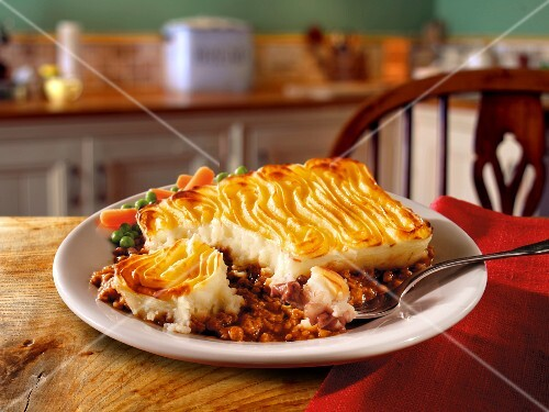 Shepherd's pie (ground beef casserole with mashed potatoes on top, England)