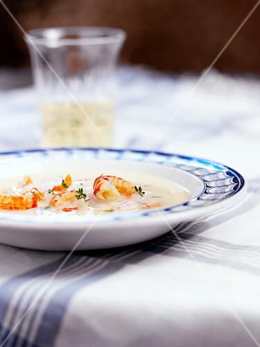 Creamy crayfish soup