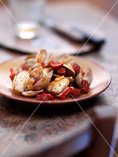 Spanish clams with chorizo, garlic and chilli