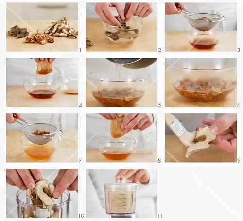 Dried mushrooms being prepared