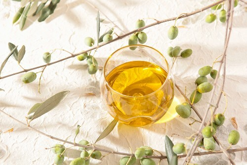 Olive oil in a glass