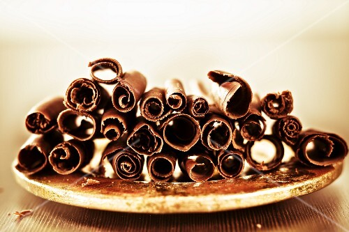 A plate of chocolate curls