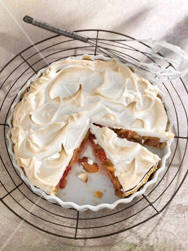 Rhubarb tart topped with meringue