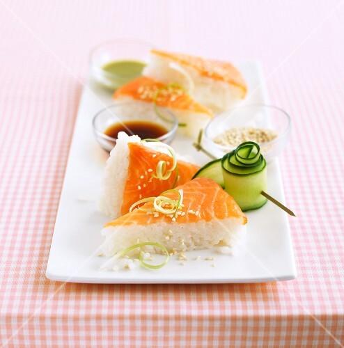 Sushi corners with smoked salmon