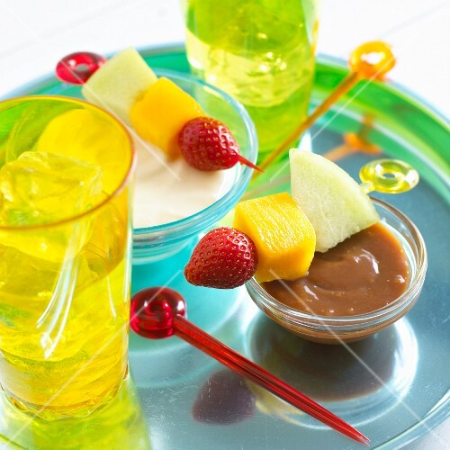Fruit kebabs with a toffee and vanilla dip