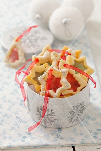 Christmas biscuits with sugared windows
