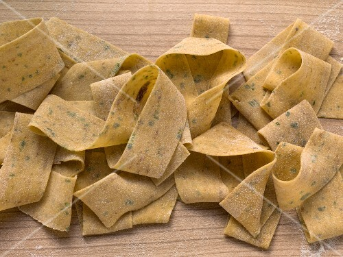Pappardelle pasta flavoured with porcini mushrooms