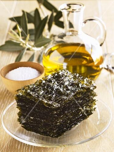 Stack of Crispy Seaweed; Salt and Olive Oil