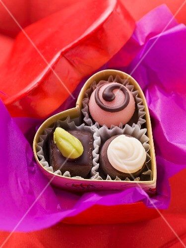 Chocolates in a heart-shaped box
