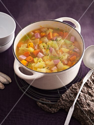 White cabbage stew with smoked pork
