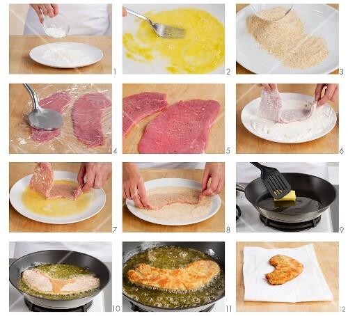 Making Wiener Schnitzel (breaded veal escalopes)
