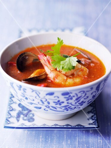 Seafood soup with coriander