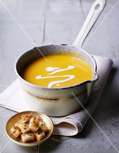Butternut squash soup with croutons