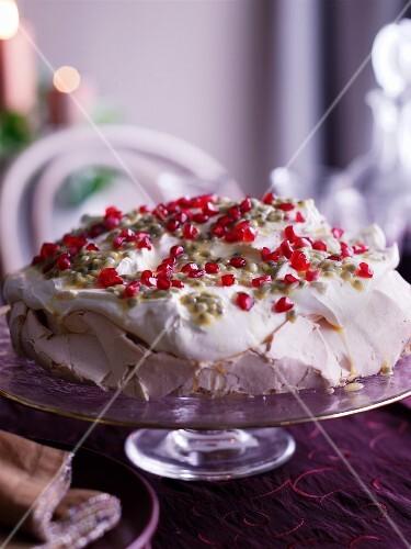 Pavlova with pomegranate seeds
