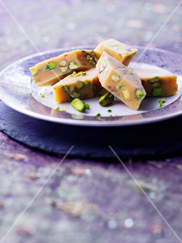 Barfi (Indian almond milk confectionery) with pistachios