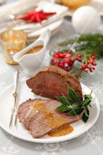 Roast beef with mustard sauce