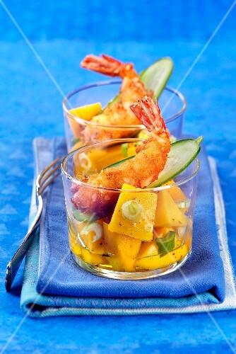 Mango salad with deep fried prawns