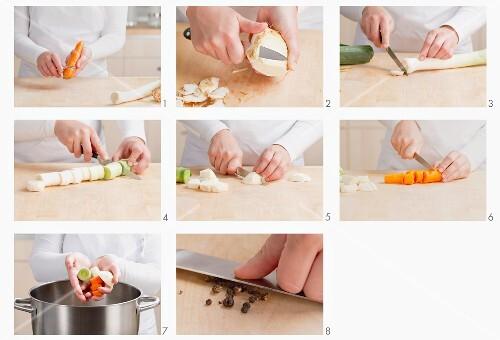 Suppengemüse klein schneiden
