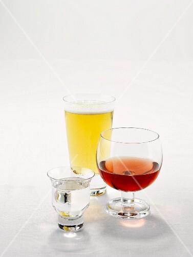 Sake, rose wine and beer in glasses