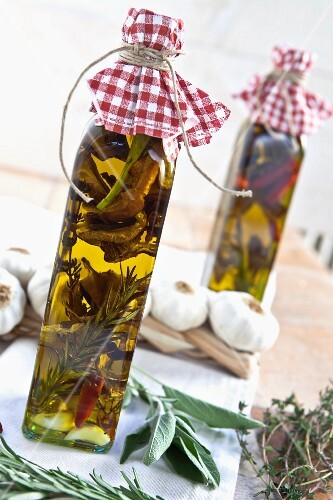 Homemade porcini mushroom oil as a gift