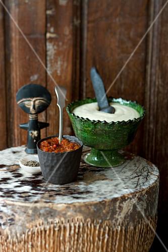 Braai sauce and pap (South African barbecue sauce and cornflour porridge)